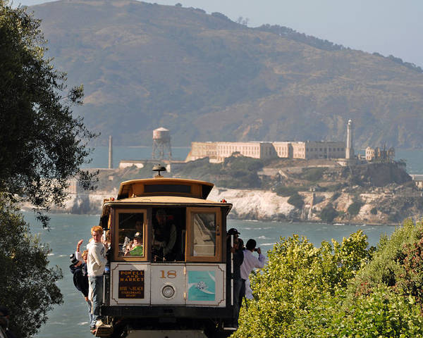 San Francisco Poster featuring the photograph Cable Car Going Down A Steep San Francisco Hill by Scott Lenhart