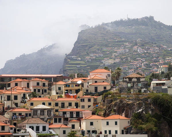 Horizontal Mist Misty Cable Car Outdoor Tourist Tours View Spectacular Vacation Holiday Atlantic Ocean Portuguese Sea Cliff Steep Escarpment Look Out Point Panoramic Coast Coastline Waves Exterior Landscape Mountains Rocks Mountainous Calm Water Summer Seashore Color Color Daytime Outdoor Nobody Houses Red Roofs Village Hillside Slope Poster featuring the photograph Cabo Girao Madeira Portugal by Jim Wallace