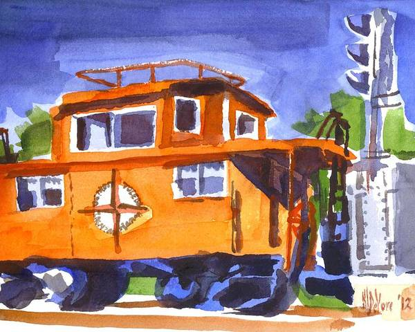 Caboose With Silver Signal Poster featuring the painting Caboose With Silver Signal by Kip DeVore