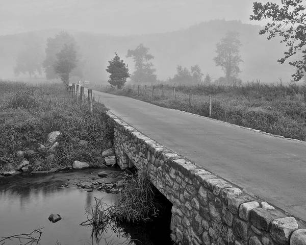 Cades Poster featuring the photograph Cades Cove Black And White by Frozen in Time Fine Art Photography