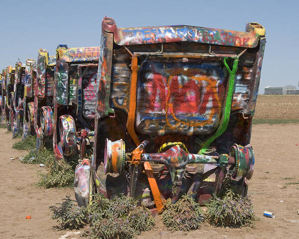 Cadillac Ranch Poster featuring the photograph Cadillac Ranch Along Route 66 by Scott Lenhart