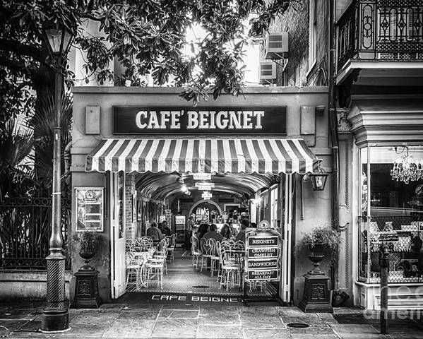 Nola Poster featuring the photograph Cafe Beignet Morning Nola - Bw by Kathleen K Parker