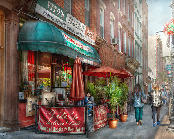 Savad Poster featuring the photograph Cafe - Hoboken Nj - Vito's Italian Deli by Mike Savad