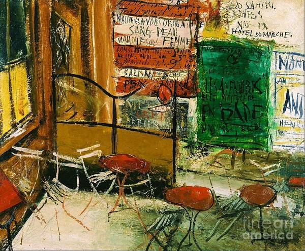 Pd Poster featuring the painting Cafe Terrace With Posters by Pg Reproductions