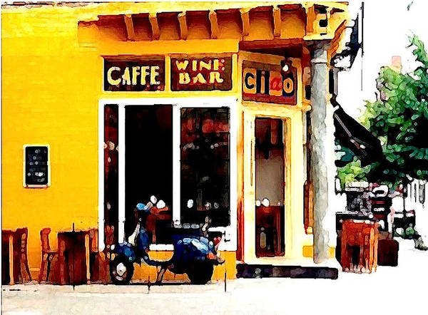 Greenwich Village Poster featuring the digital art Caffe Ciao by Ronnie Caplan