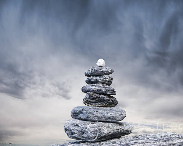 Balance Poster featuring the photograph Cairn And Stormy Sky by Colin and Linda McKie