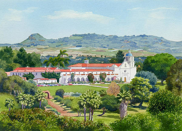 California Poster featuring the painting California Mission San Luis Rey by Mary Helmreich