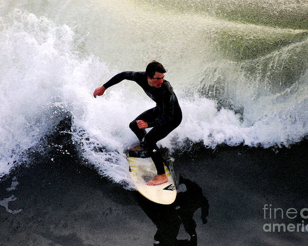 Surfer Poster featuring the photograph California Surfer by Catherine Sherman