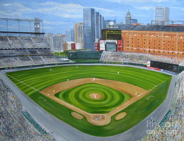 Camden Yards Poster featuring the painting Camden Yards by Laura Corebello