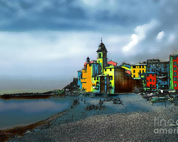 Camogli Poster featuring the photograph Camogli Italy Beachside by Linda Parker