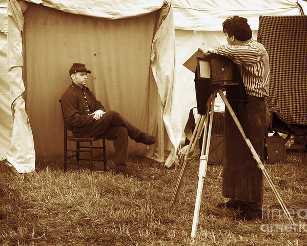 Civil War Poster featuring the photograph Camp Photographer by Paul W Faust - Impressions of Light