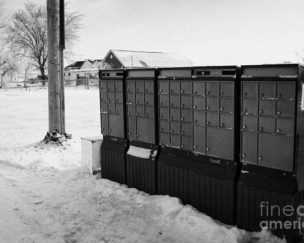 Canada Poster featuring the photograph canada post post mailboxes in rural small town Forget Saskatchewan Canada by Joe Fox
