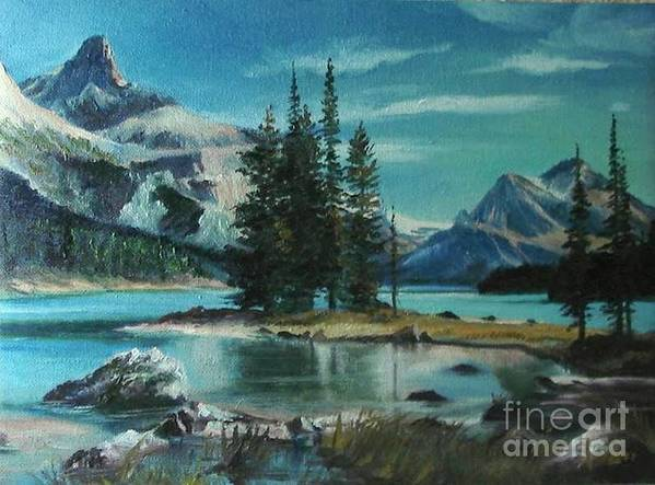 Landscape Poster featuring the painting Canadian Landscape by Sorin Apostolescu