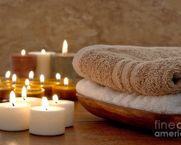 Spa Poster featuring the photograph Candles And Towels In A Spa by Olivier Le Queinec