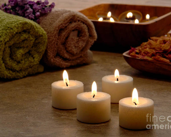 Spa Poster featuring the photograph Candles In A Spa by Olivier Le Queinec