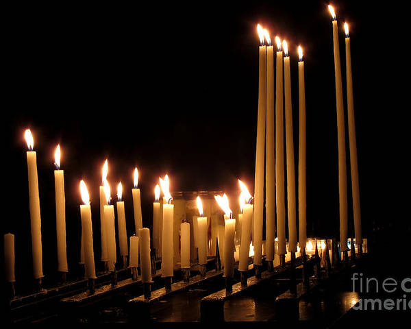 Candles Poster featuring the photograph Candles In Church by Olivier Le Queinec