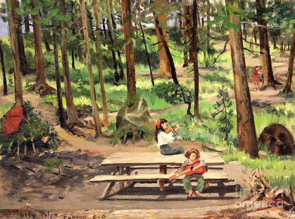 Woodscapes Poster featuring the painting Canyon Campground - Yellowstone 1950's by Art By Tolpo Collection