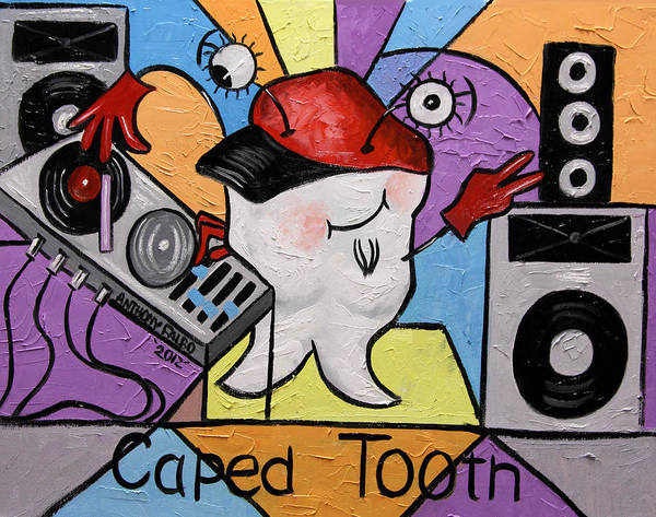 Caped Tooth Poster featuring the painting Caped Tooth by Anthony Falbo