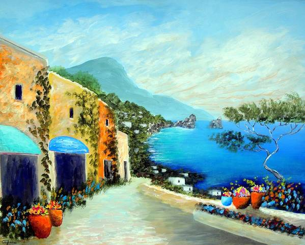 Italy Mediterranean Art Tuscany Poster featuring the painting Capri Fantasies by Larry Cirigliano