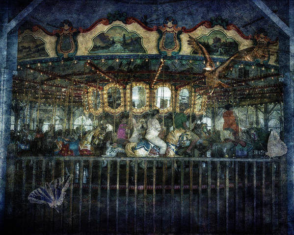 Carousel Poster featuring the photograph Captive On The Carousel Of Time by Belinda Greb