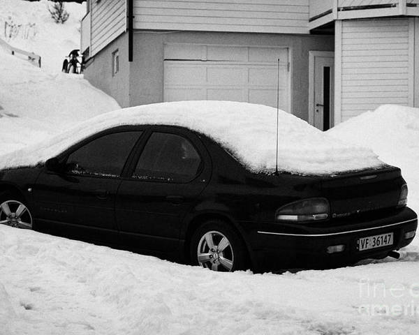 Car Poster featuring the photograph Car Buried In Snow Outside House In Honningsvag Norway Europe by Joe Fox