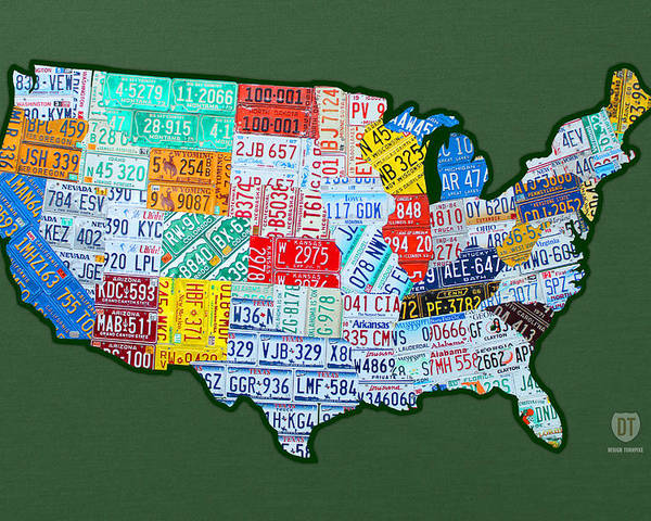 Car Tag Number Plate Art Usa On Green License Plate Map Poster featuring the mixed media Car Tag Number Plate Art Usa On Green by Design Turnpike