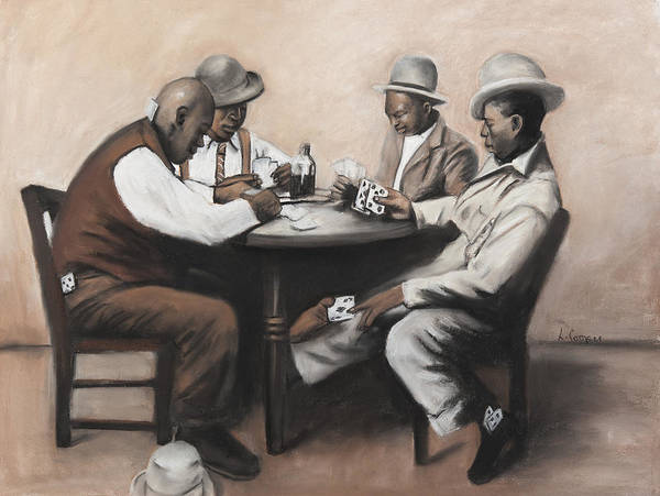 Poster featuring the pastel Card Game by L Cooper