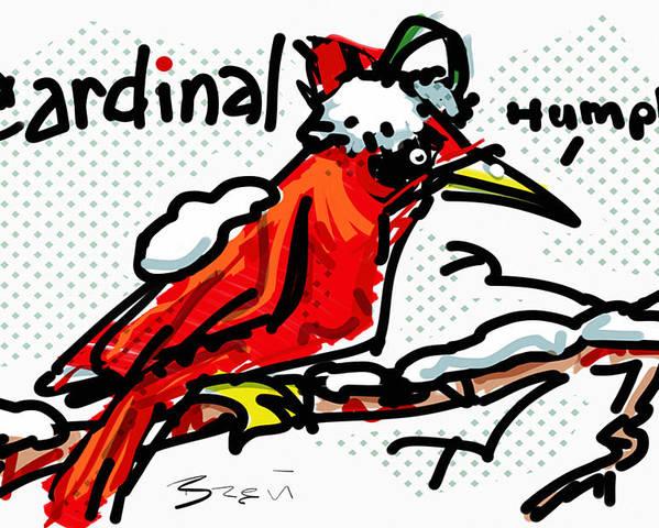 Cardinal Poster featuring the digital art Cardinal by Brett LaGue