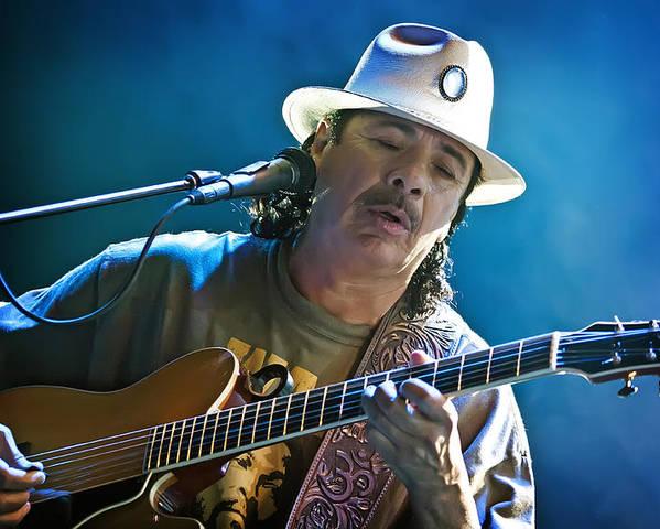Carlos Santana Poster featuring the photograph Carlos Santana On Guitar 3 by Jennifer Rondinelli Reilly - Fine Art Photography
