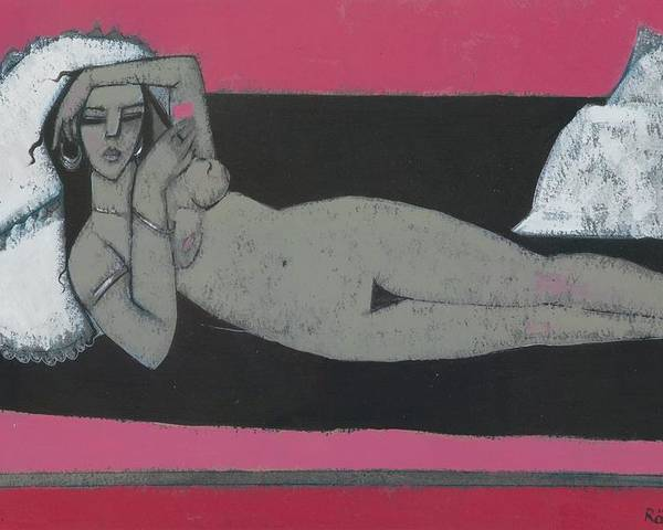 Nude Poster featuring the painting Carmena Resting by Endre Roder
