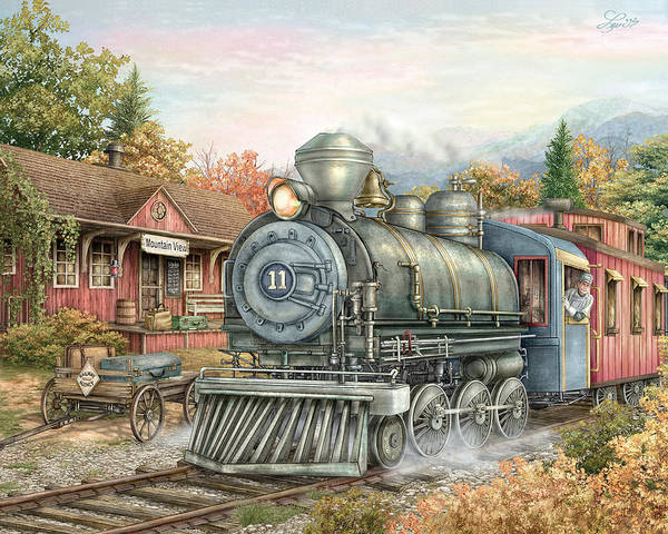 Train Poster featuring the painting Carolina Morning Train by Beverly Levi-Parker