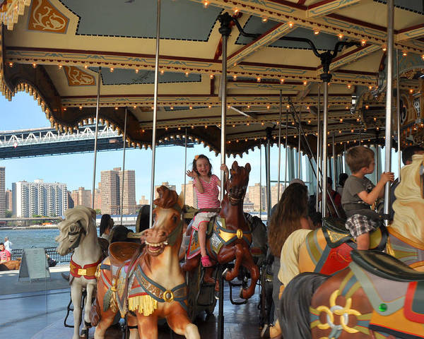 Carousel Poster featuring the photograph Carousel Brooklyn Bridge Park by Diane Lent