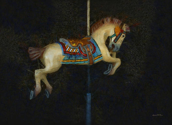 Carousel Horse Painterly Poster featuring the digital art Carousel Horse Painterly by Ernie Echols