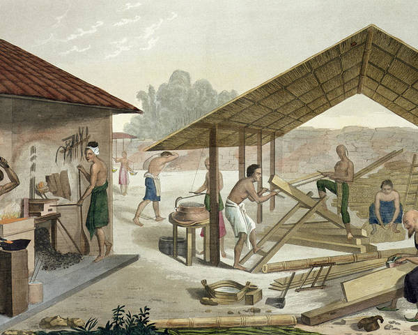 Giulio Poster featuring the drawing Carpentry Workshop In Kupang, Timor by Francesco Citterio