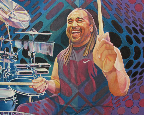 Carter Beauford Poster featuring the drawing Carter Beauford Pop-op Series by Joshua Morton