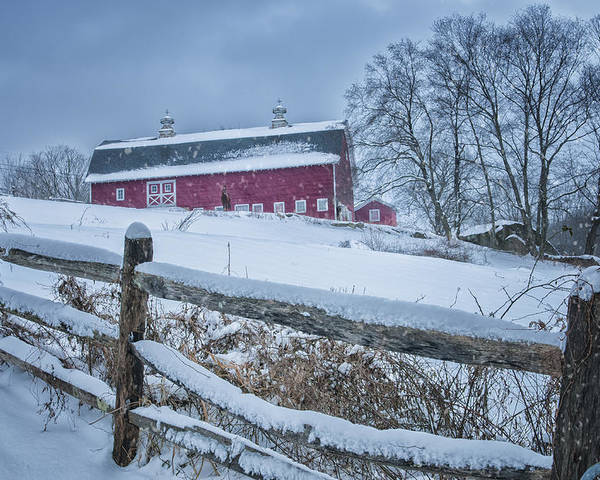 Kent Ct Poster featuring the photograph Carter Farm - Litchfield Hills Winter Scene by Thomas Schoeller