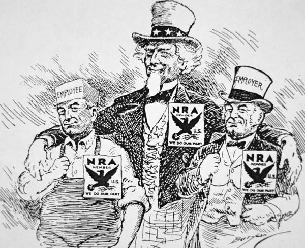 Male Poster featuring the drawing Cartoon Depicting The Impact Of Franklin D Roosevelt by American School