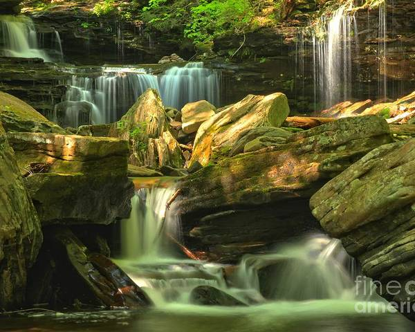 Ricketts Glen Waterfalls Poster featuring the photograph Cascading Everywhere by Adam Jewell