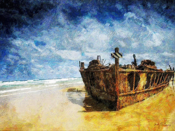 Boat Poster featuring the painting Cast Upon the Shore by Sandy MacGowan