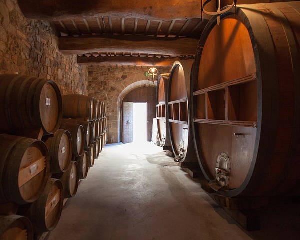 Winery Poster featuring the photograph Castelle Di Amorosa Barrel Room by Scott Campbell