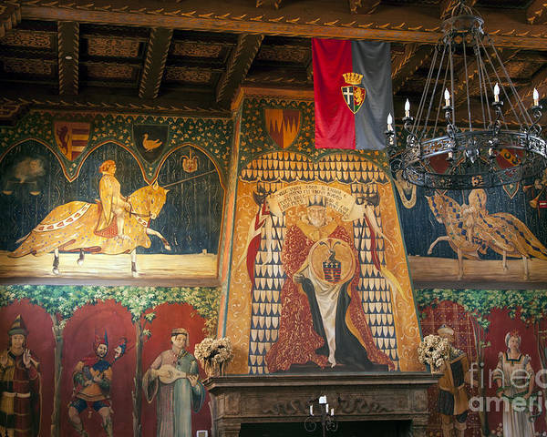 Castello Di Amorosa Winery Napa Valley California Great Hall Halls Mural Murals Rod Iron Light Fixture Fixtures Wineries Poster featuring the photograph Castello Di Amorosa Winery by Bob Phillips