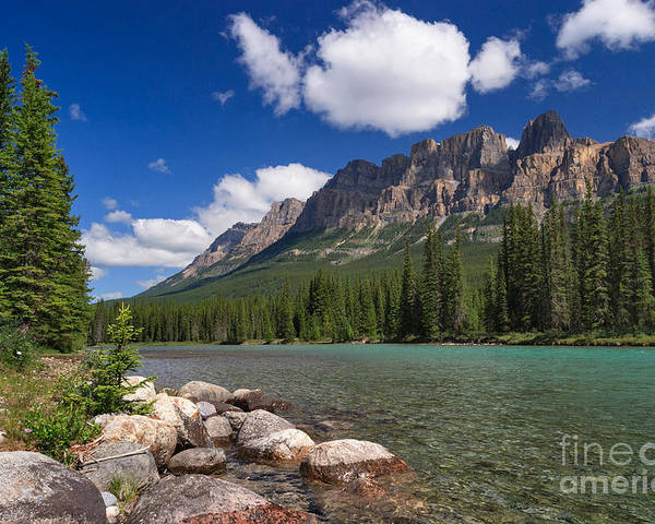 Castle Mountain Poster featuring the photograph Castle Mountain And The Bow River by Charles Kozierok