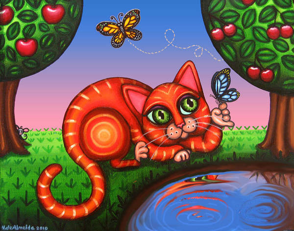 Cat Poster featuring the painting Cat In Reflection by Victoria De Almeida