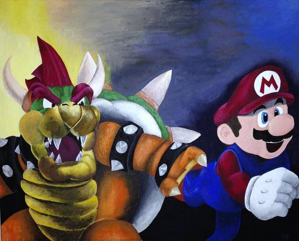 Mario Poster featuring the painting Catch The Plumber by Jamie Blackbourn