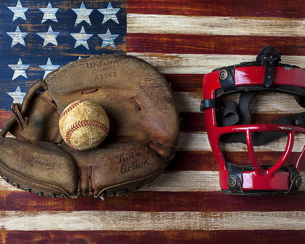 Catchers Glove Poster featuring the photograph Catchers Glove On American Flag by Garry Gay