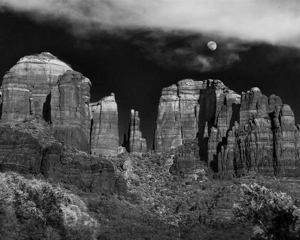 Sedona Poster featuring the photograph Cathedral Rock Moon Rise by Dave Dilli