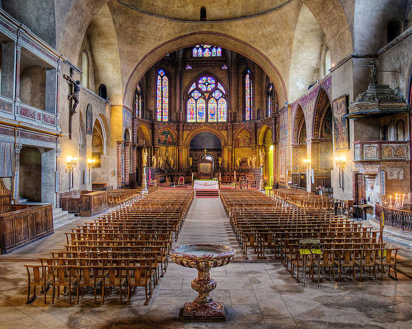 Saint Etienne Poster featuring the photograph Cathedrale Saint-etienne Interior / Cahors by Barry O Carroll