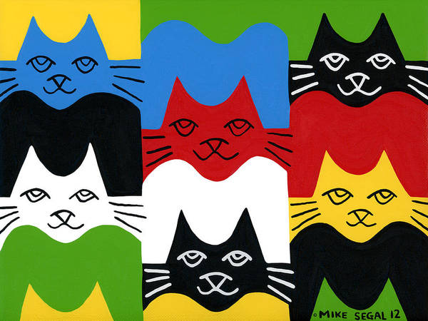 Cat Poster featuring the painting Cats by Mike Segal