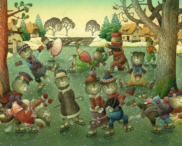 Christmas Greeting Cards Ise Skating Cat Holiday Poster featuring the painting Cats On Skates by Kestutis Kasparavicius