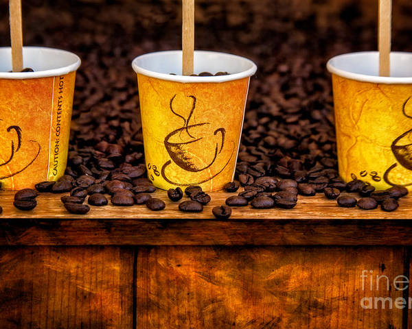 Coffee Beans Poster featuring the photograph Caution... Contents Hot by Susan Candelario